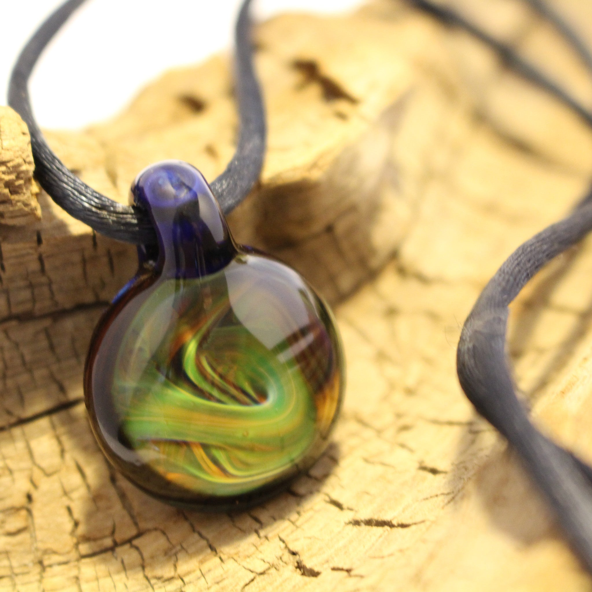 Swisher Glass Necklace - Royal Blue, Green and Yellow