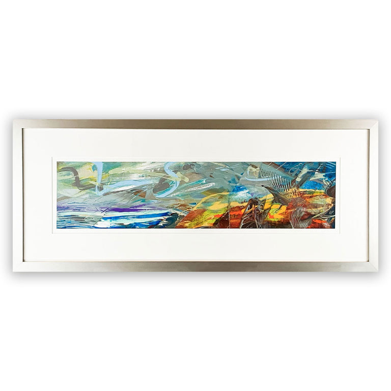 Original Abstract Painting - Framed in brushed nickel aluminum frame