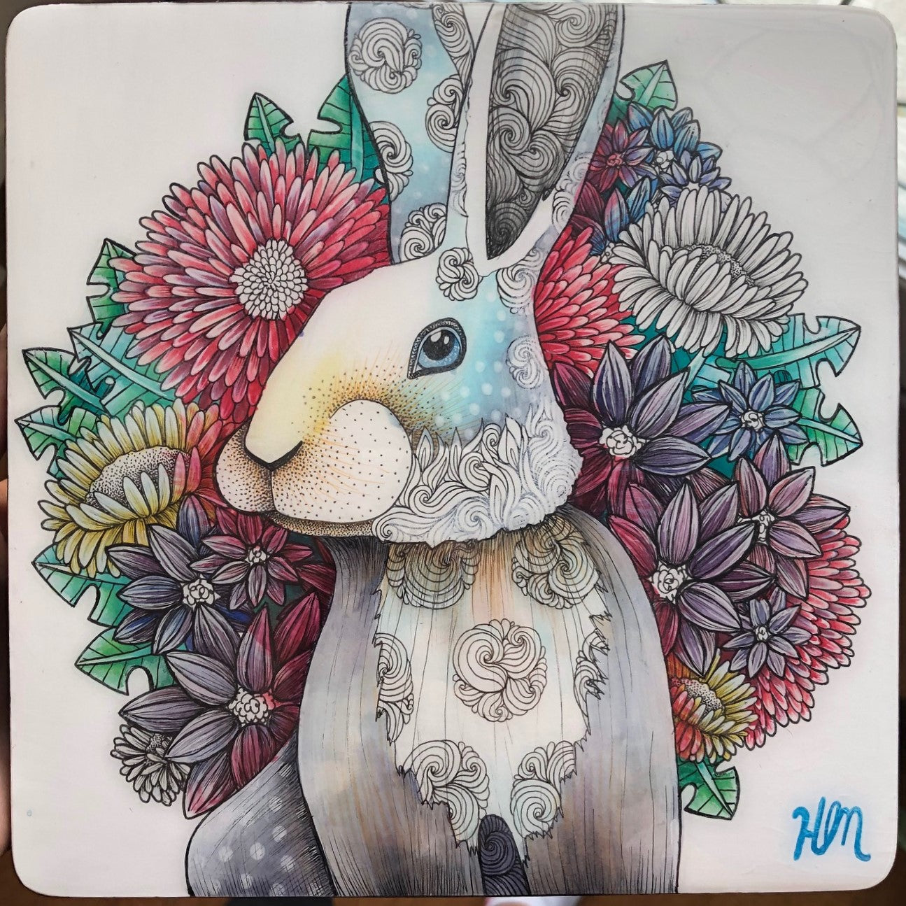 Original Ink, Pencil and Watercolour Work - FLORAL RABBIT