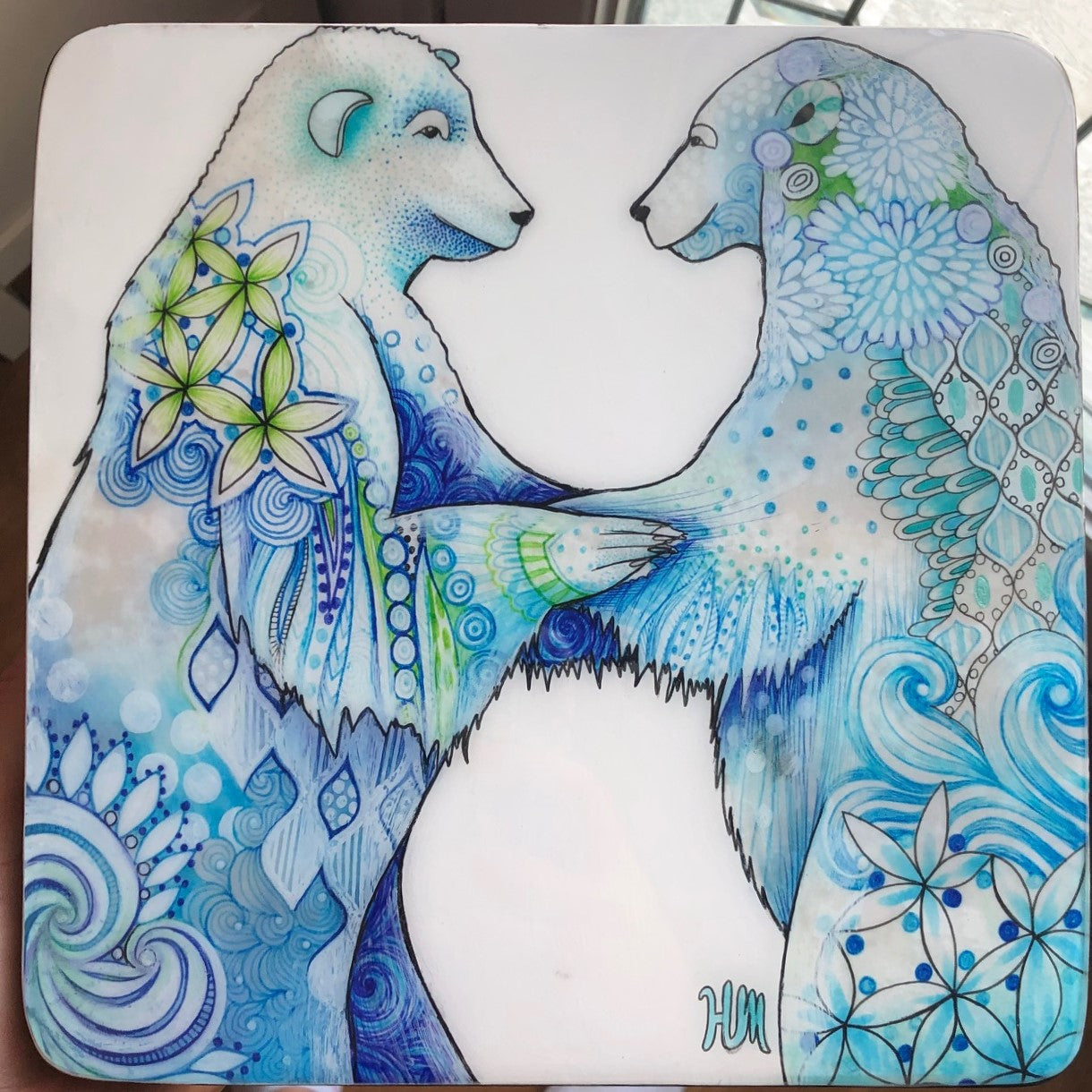 Original Art Work of Two Blue Bears by Canadian Artist Hanna Mark