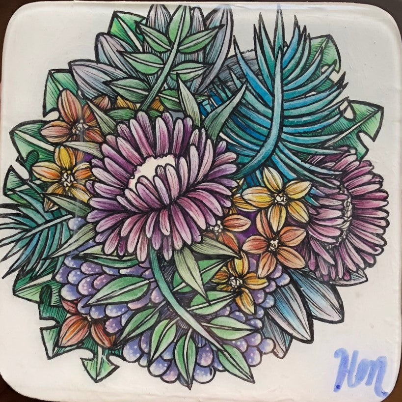 Original Ink, Pencil and Watercolour Work - FLORAL (small)