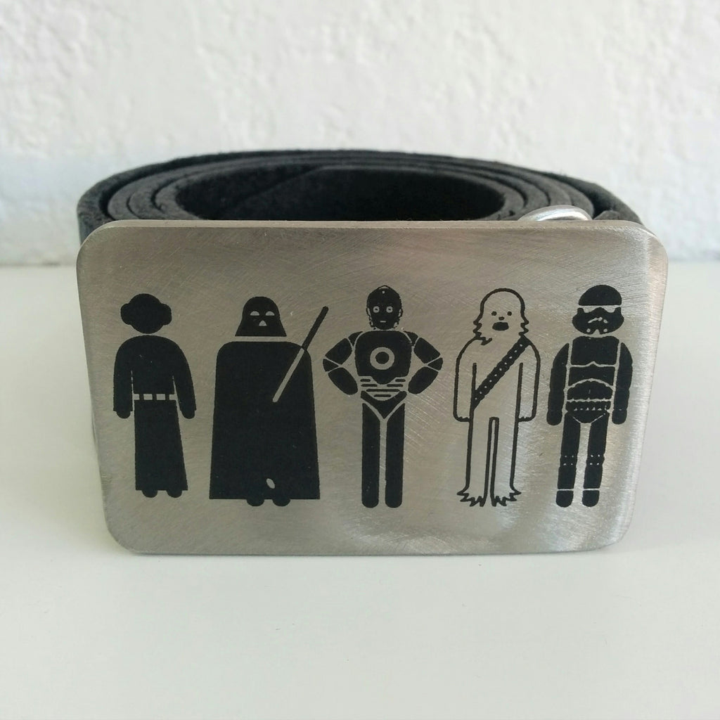 Etched Steel Belt Buckle - Just Some Guys from Outer Space