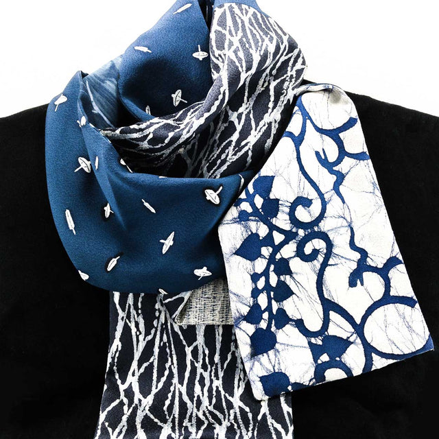 Silk Scarf - Navy White