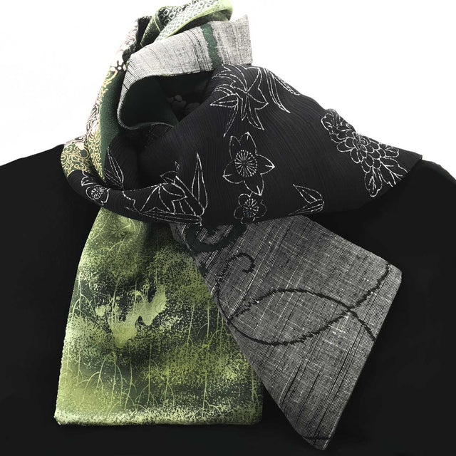 Silk Scarf - Dark Green & Black I (Shibori, Meisen)