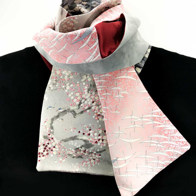Silk Scarf - Grey Crimson Pink II (Birds, Butterflies, Chrysanthemums)
