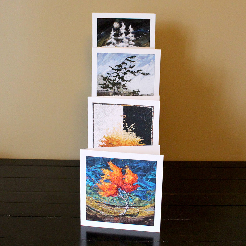 Textile Art Notecards - Earth, Wind, Fire and Ice
