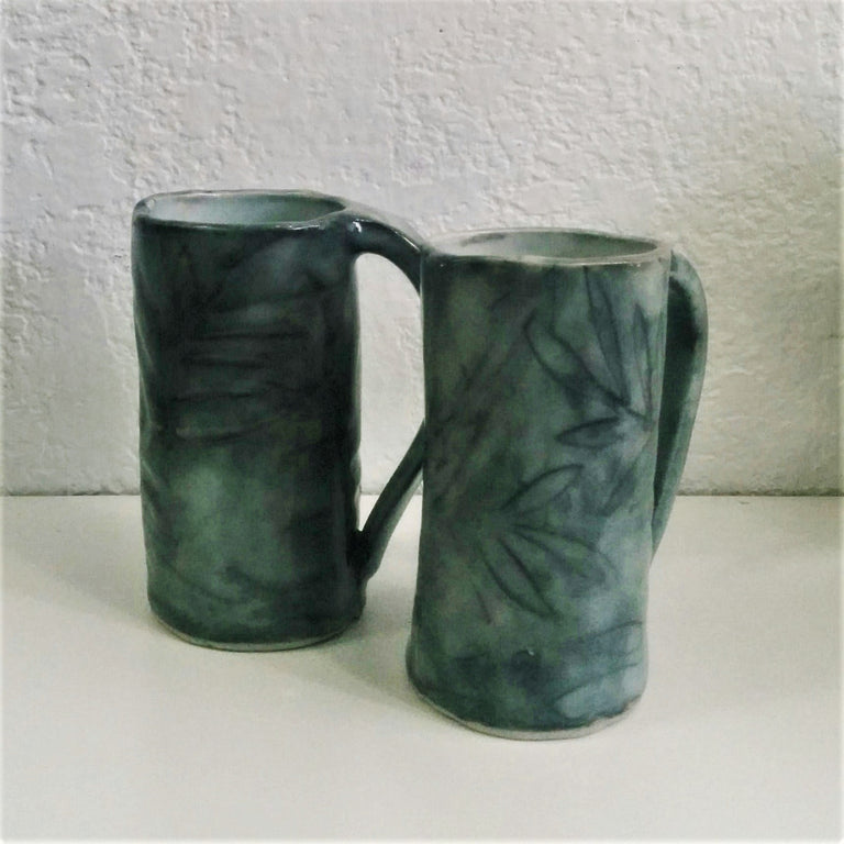 Hand-formed Pottery Mugs - Set of Two
