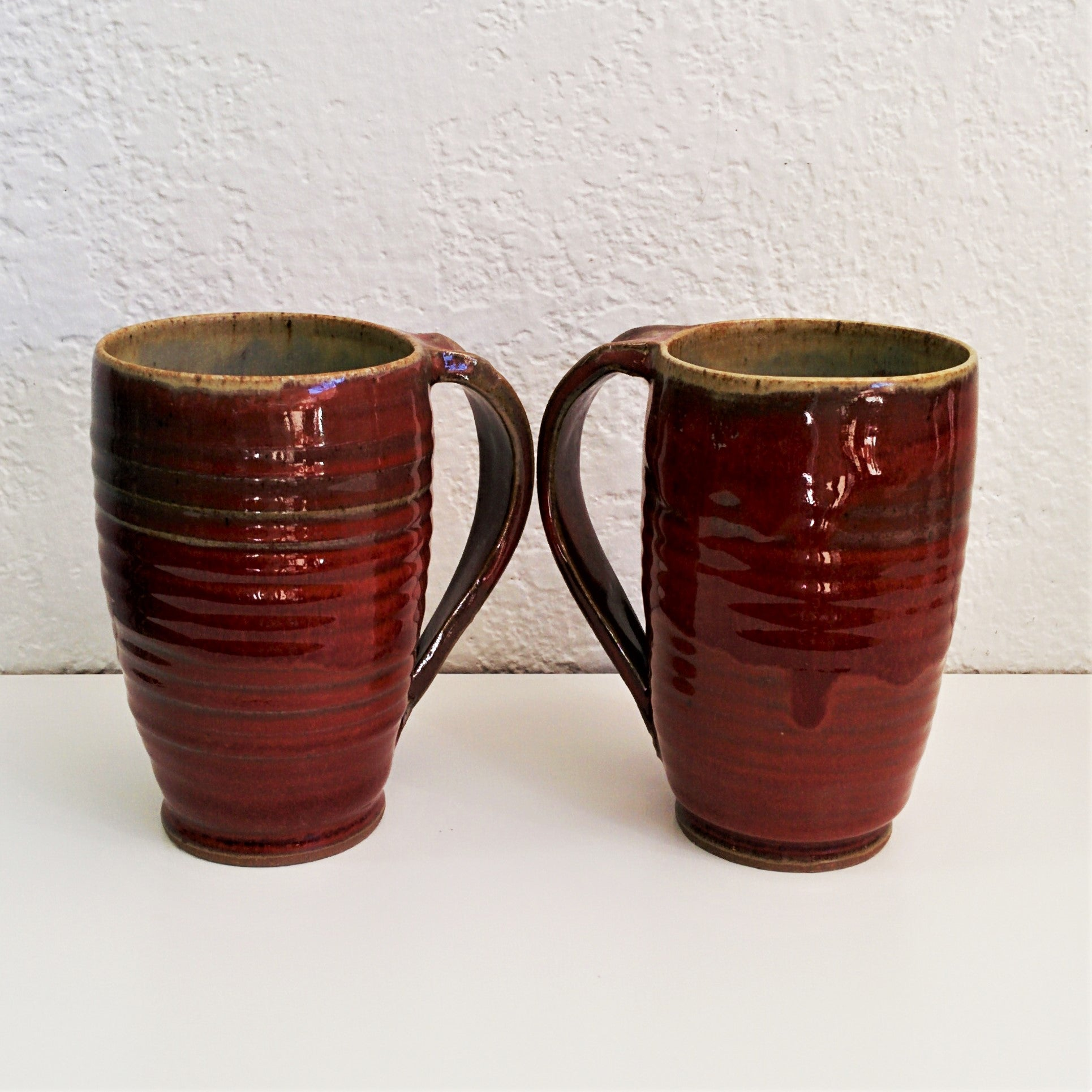 Pottery Mugs - Red - Set of Two