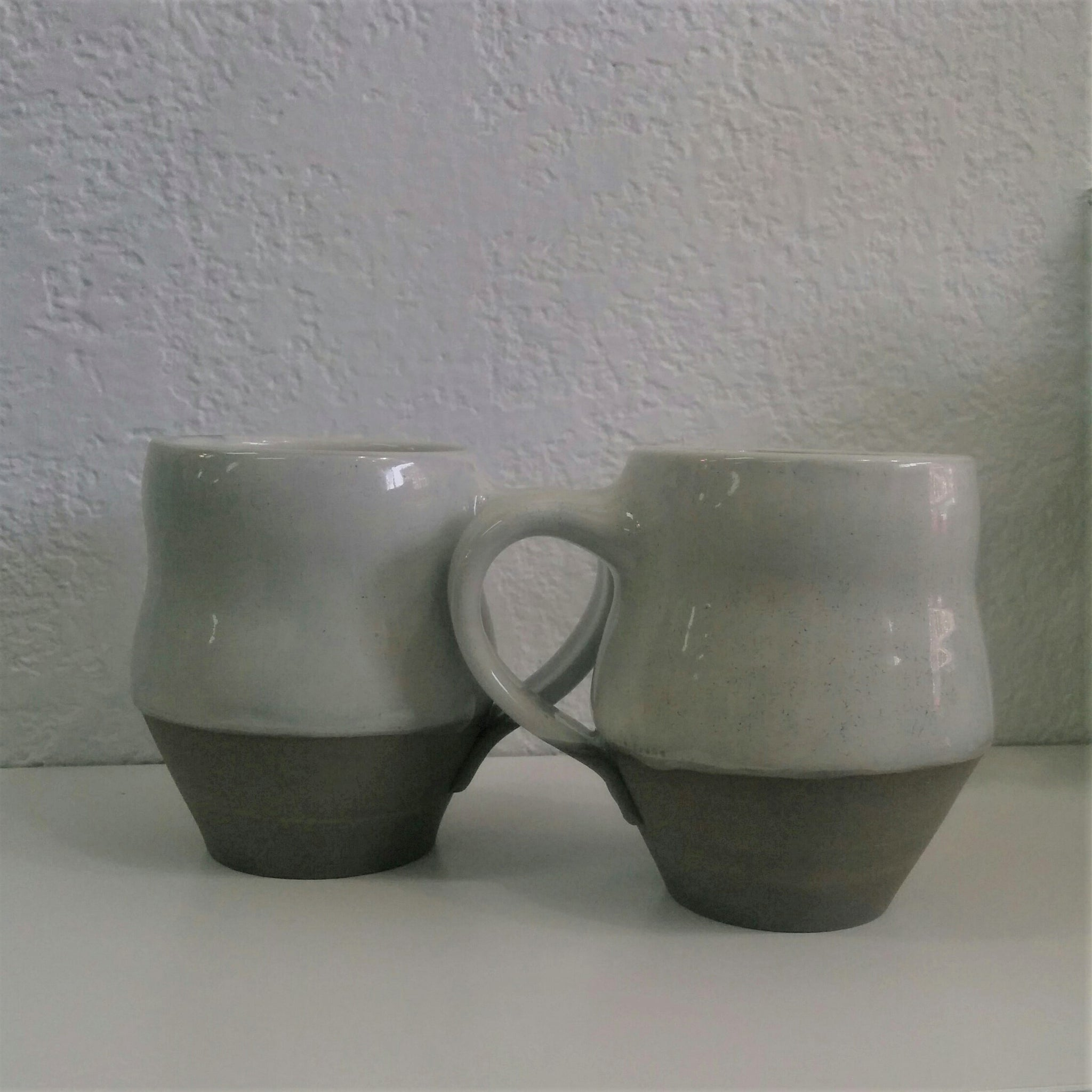 Pottery Mugs - Set of Two, grey and white