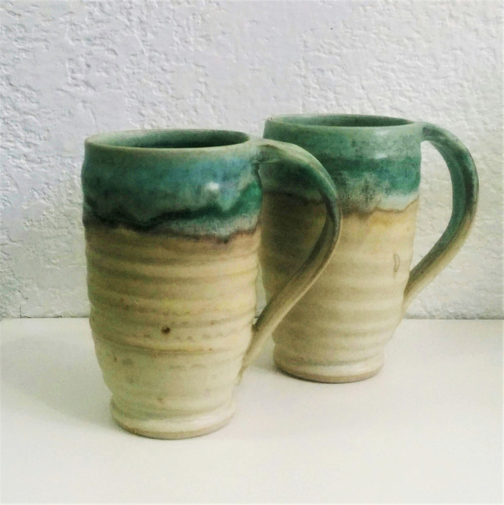 Pottery Mugs - Set of Two - Turquoise and Toast