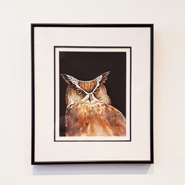 Framed Original Watercolour - NIGHT OWL