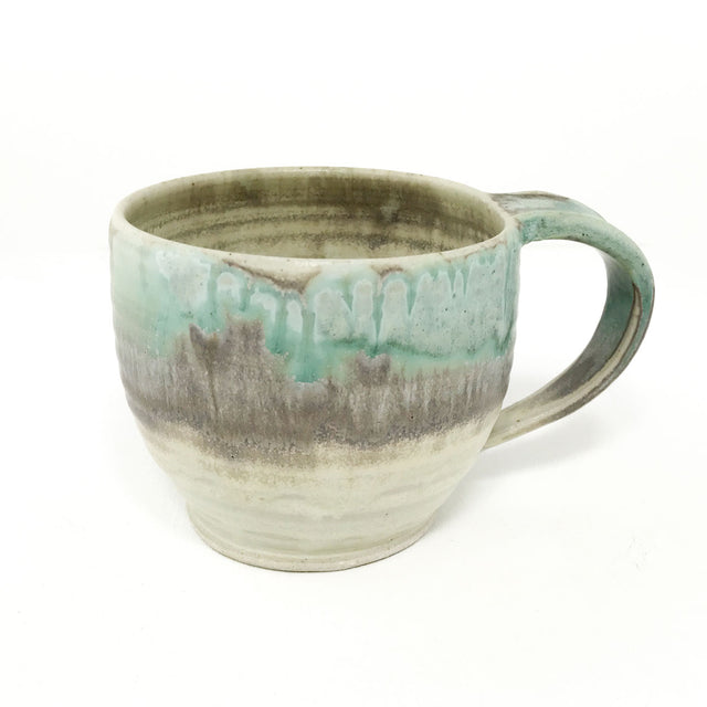 Pottery Latte Mug - Turquoise and Toast