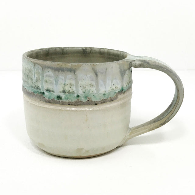 Pottery Shorty Mug - Turquoise and Toast