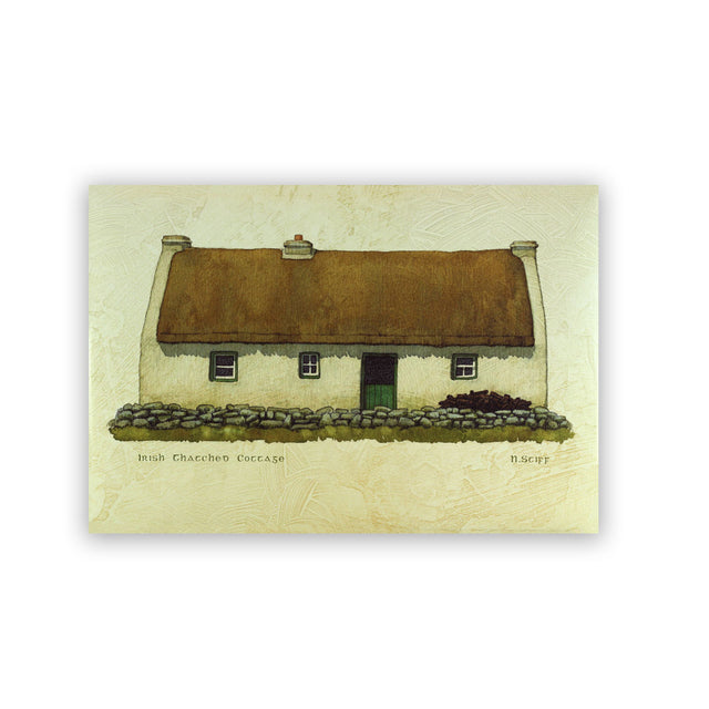 Giclee Print on Canvas - Irish Thatched Cottage with Green Door
