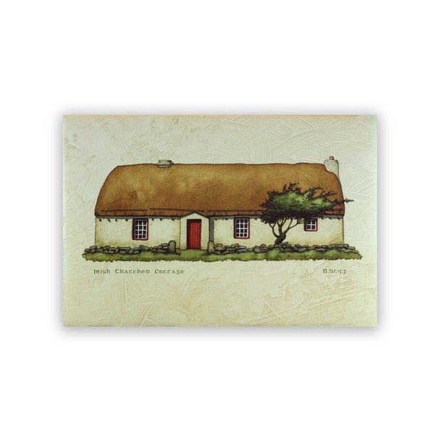 Giclee Print on Canvas - Irish Thatched Cottage with Red Door