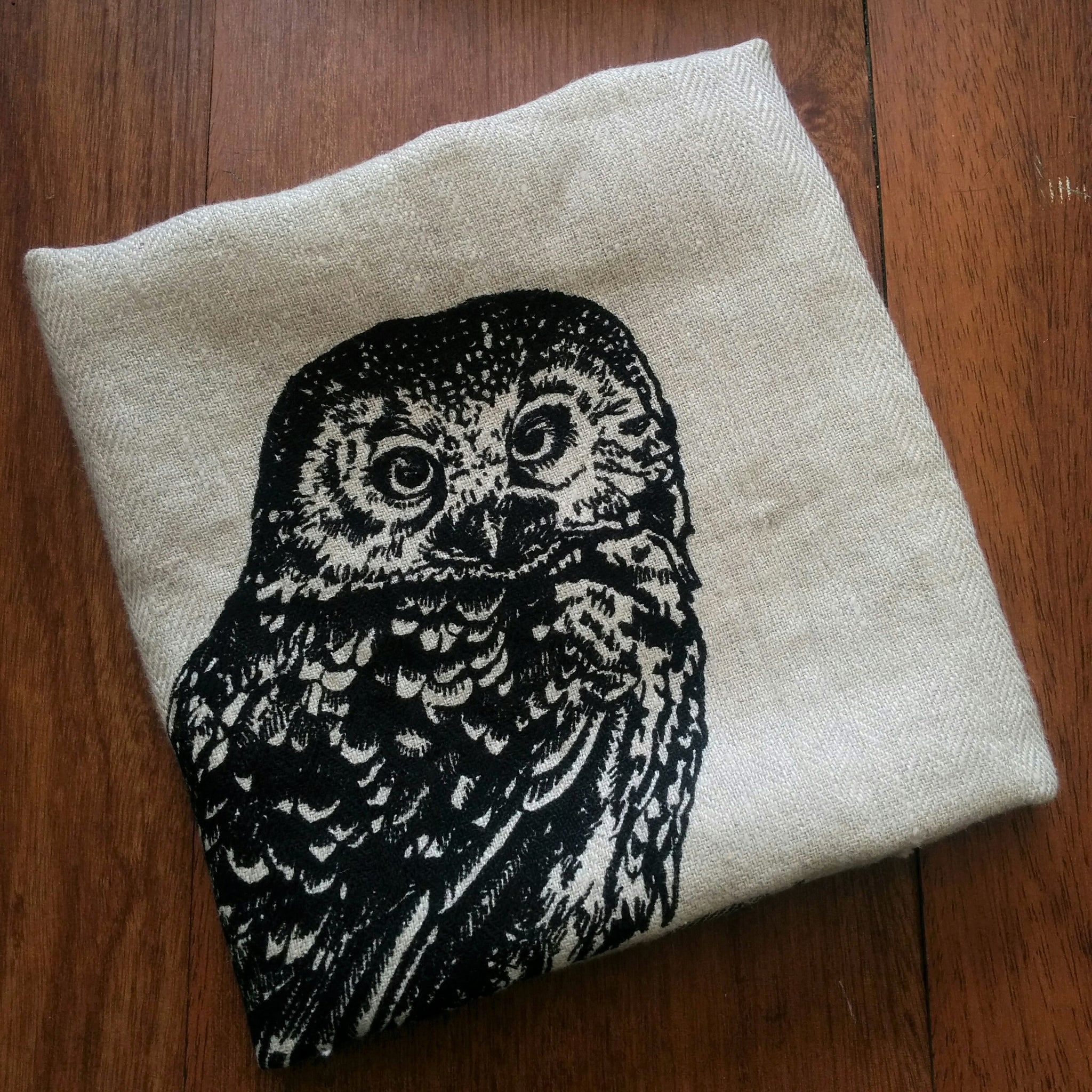 Wildlife Illustration Linen Tea Towel - Owl
