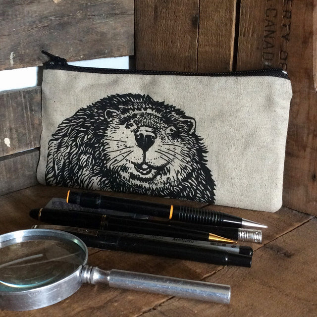 Wildlife Illustration Pencil Case - Beaver