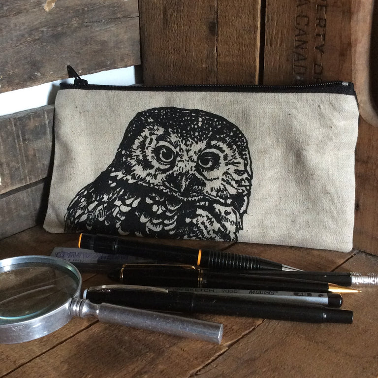 Wildlife Illustration Pencil Case - Owl