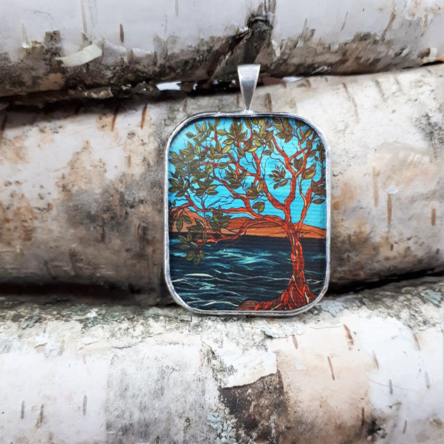 Framed Art Pendant - Lake Shore