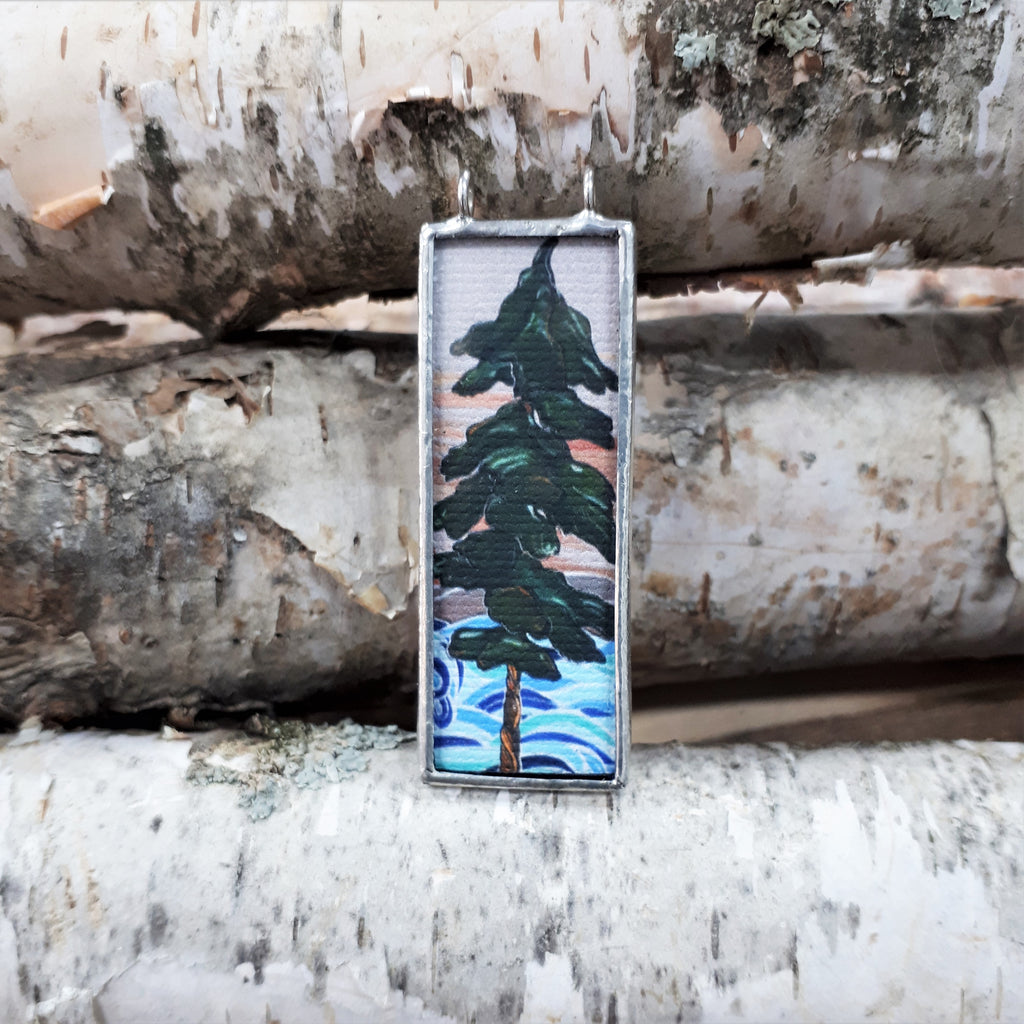 Framed art pendant of a pine tree, handmade in Canada