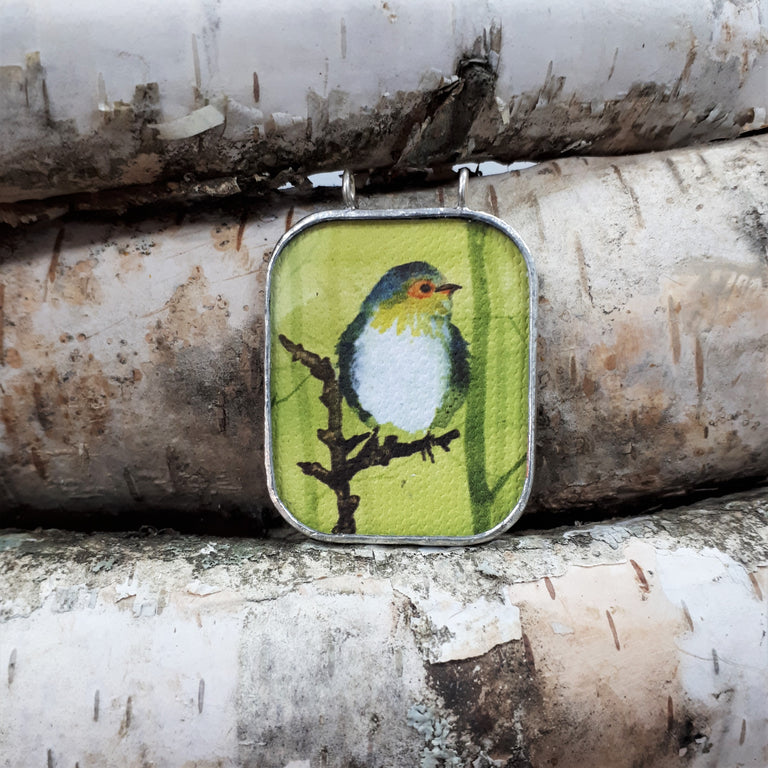 Framed bird on branch pendant handmade in Canada