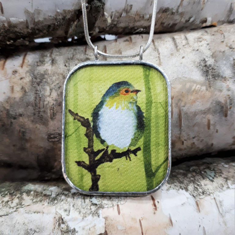 Framed Art Pendant - Bird on Branch