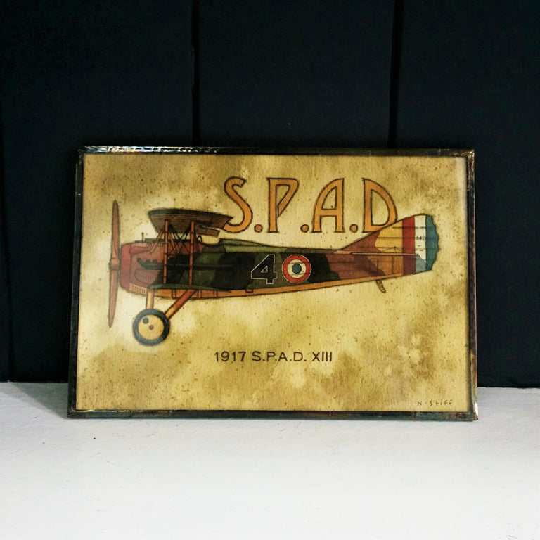 Framed Print of SPAD Plane drawn by Canadian Artist Norman Stiff