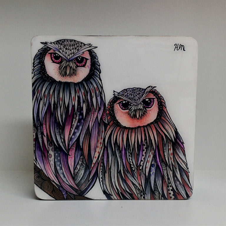 Original drawing and painting of a pair of owls by Canadian artist Hanna Mark