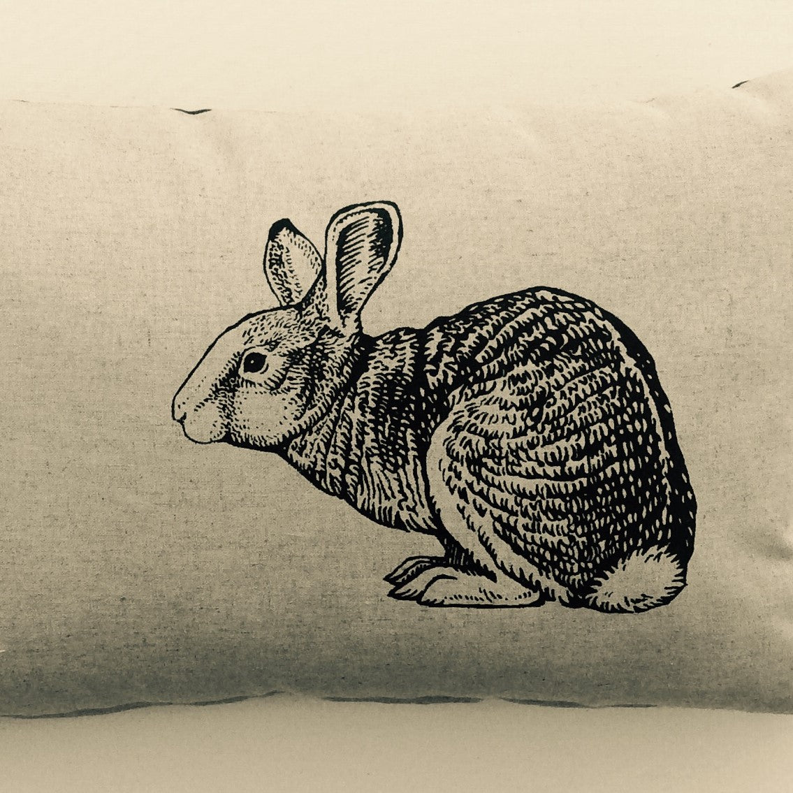 Wildlife Illustration Linen Tea Towel - Rabbit