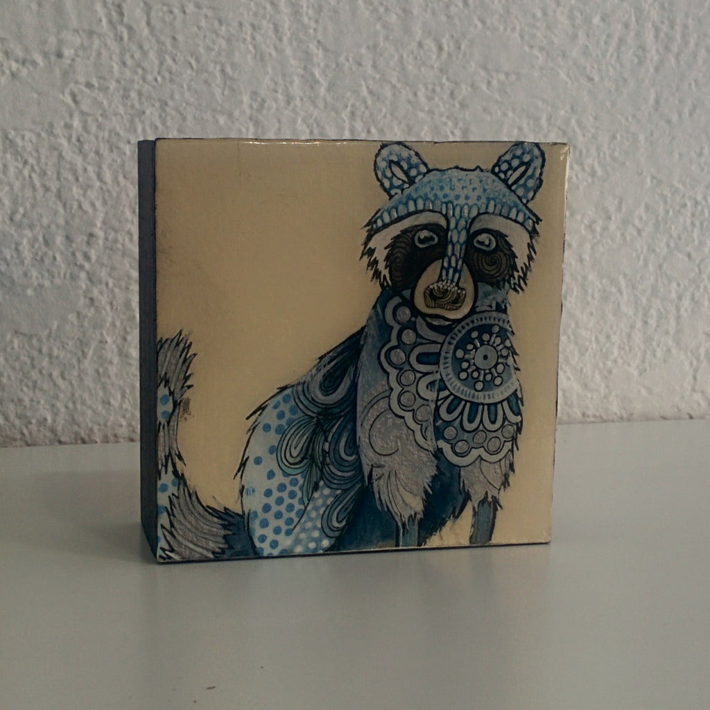 Original Ink, Pencil and Watercolour Work - Blue Raccoon