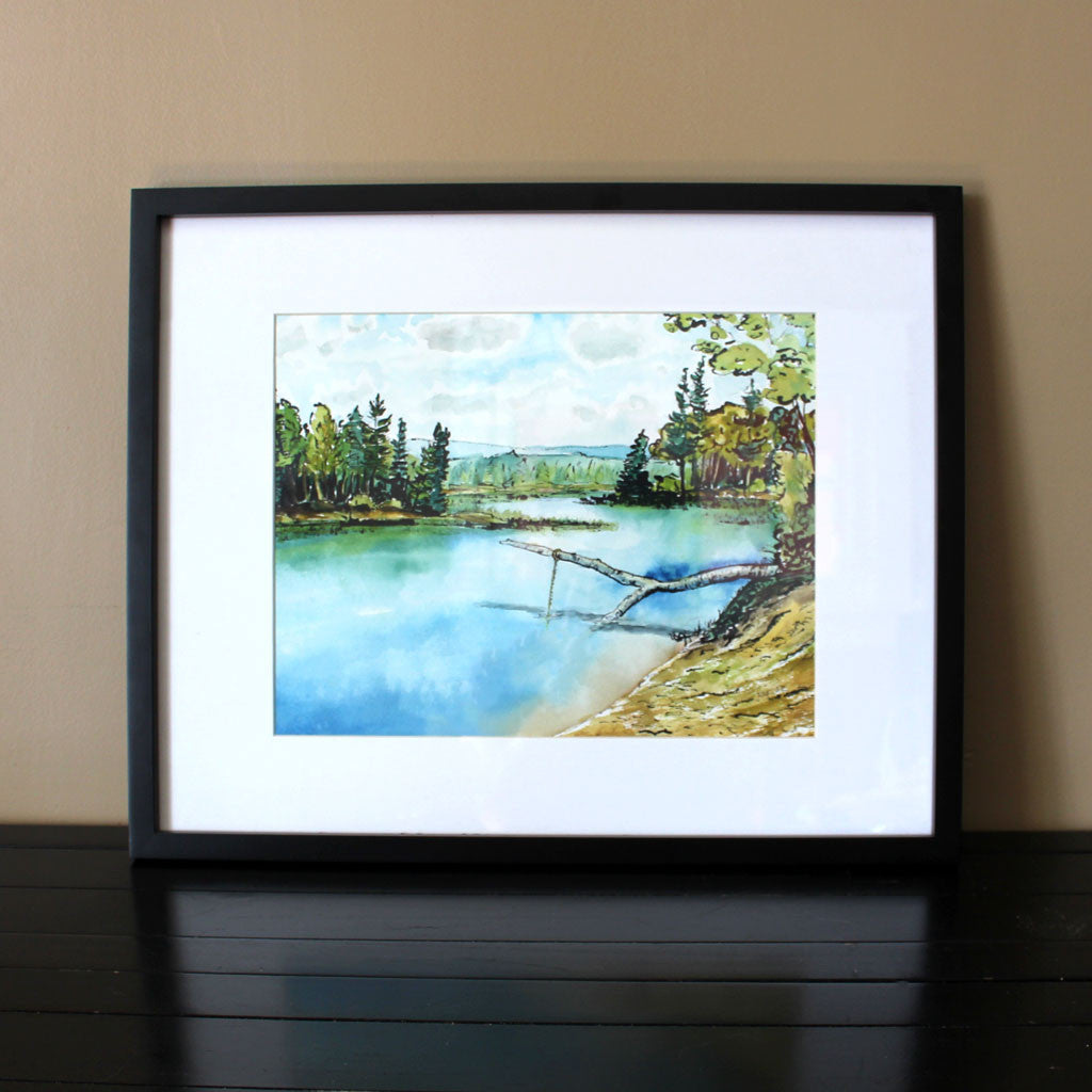 "Watercolour and Ink Painting - ""Halls Lake Swimming Hole"""
