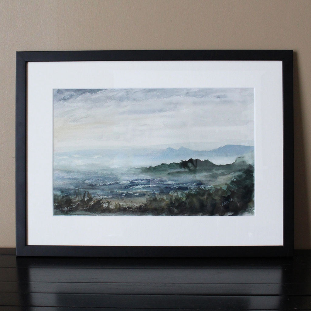 "Watercolour Framed Landscape - ""Misty Coastline"""