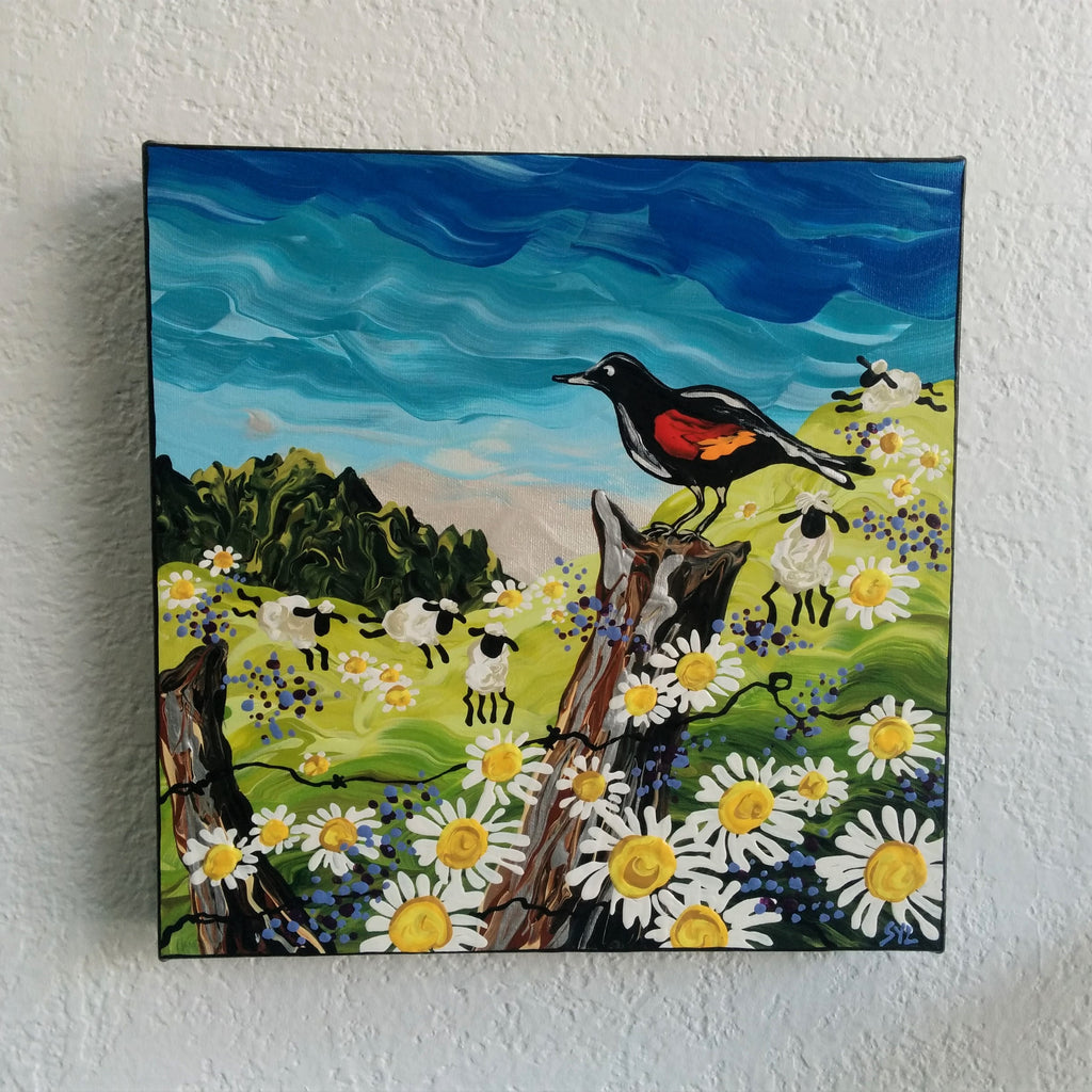 Original Acrylic Painting - RED-WINGED BLACKBIRD