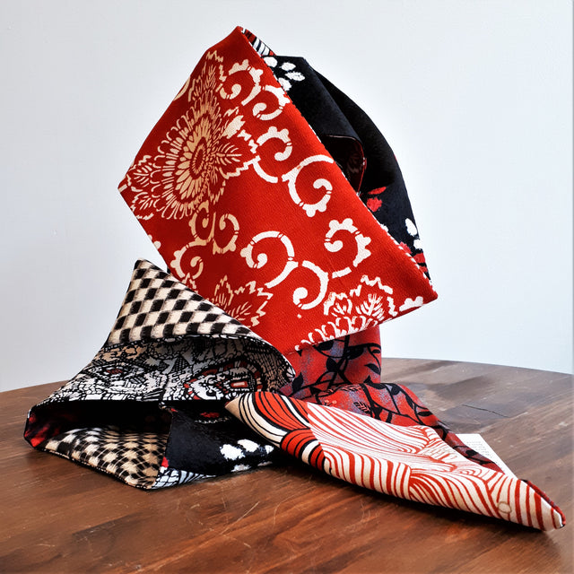 Silk Scarf - Red, Black and White