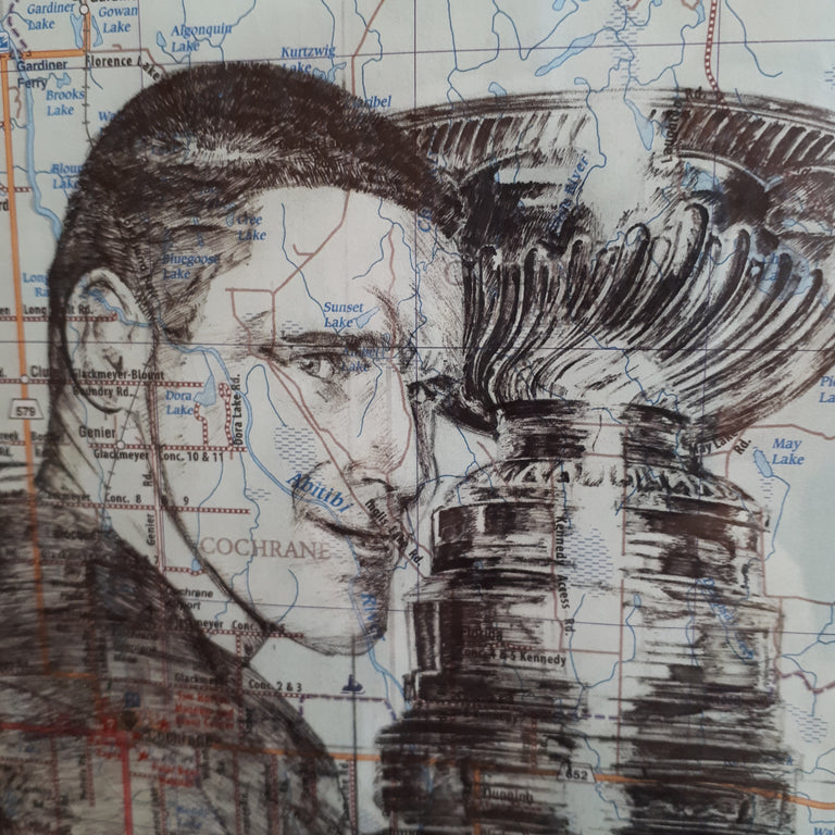 Original Pen and Ink Drawing on map - TIM HORTON