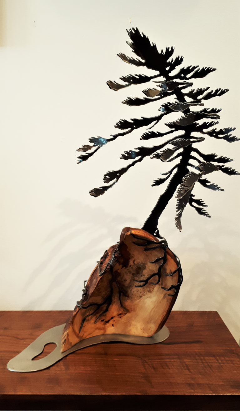 Cut-Steel Sculpture 480 - Tree on Linden Burl