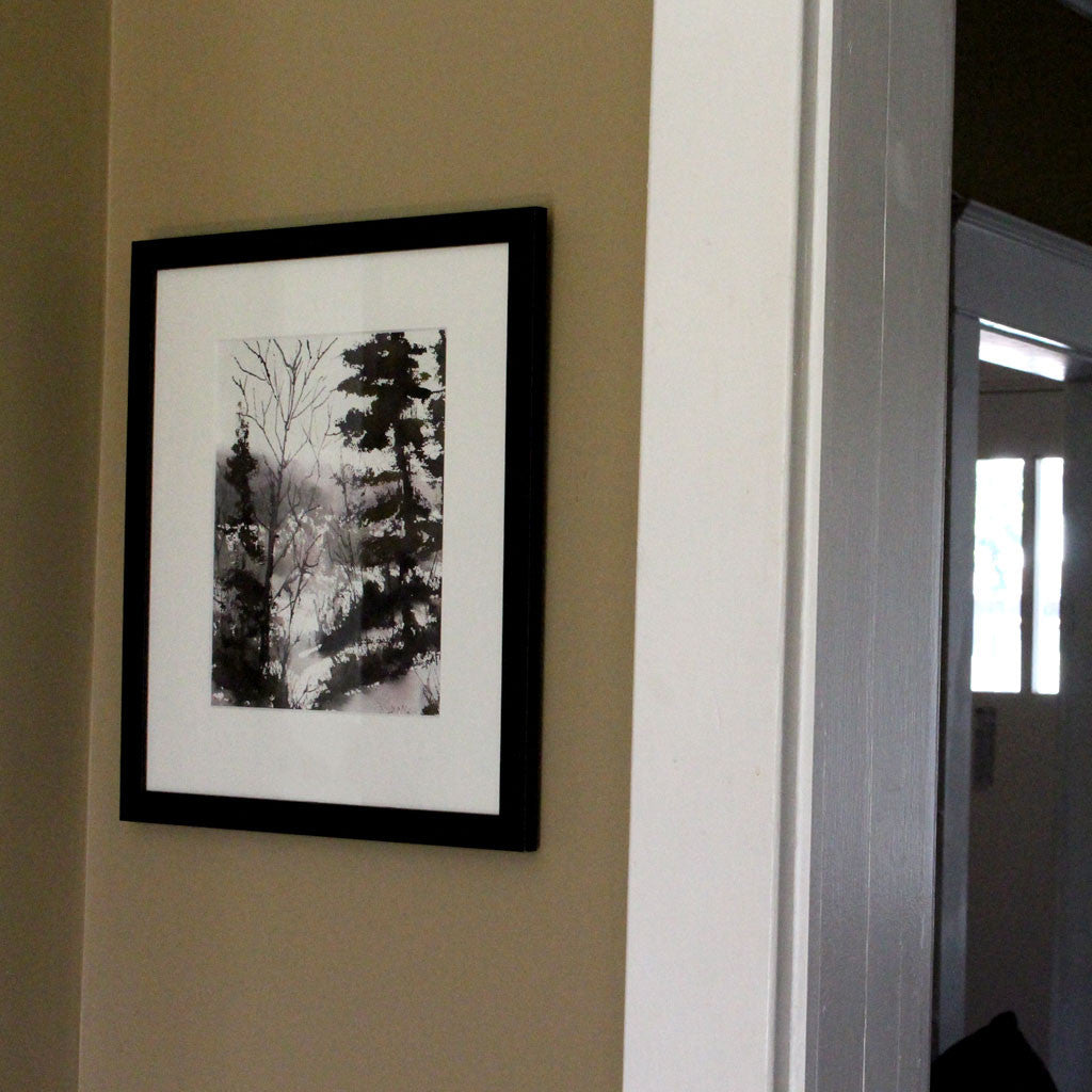 "Watercolour and Ink Framed Landscape - ""Trees in Winter"""