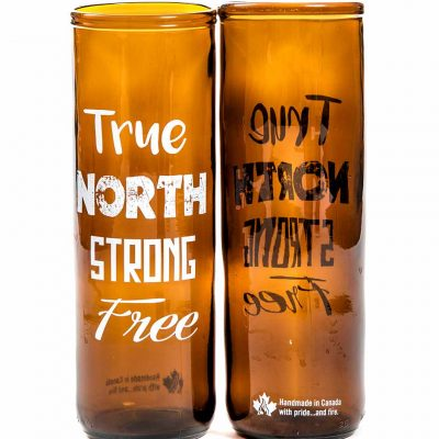 Glass Tumbler - True North Strong Free, Recycled Glass
