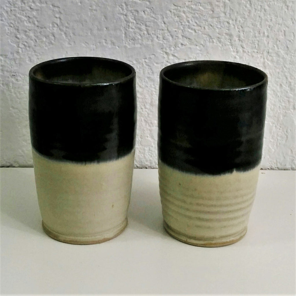 Pottery Tumblers - Set of Two - Black and White