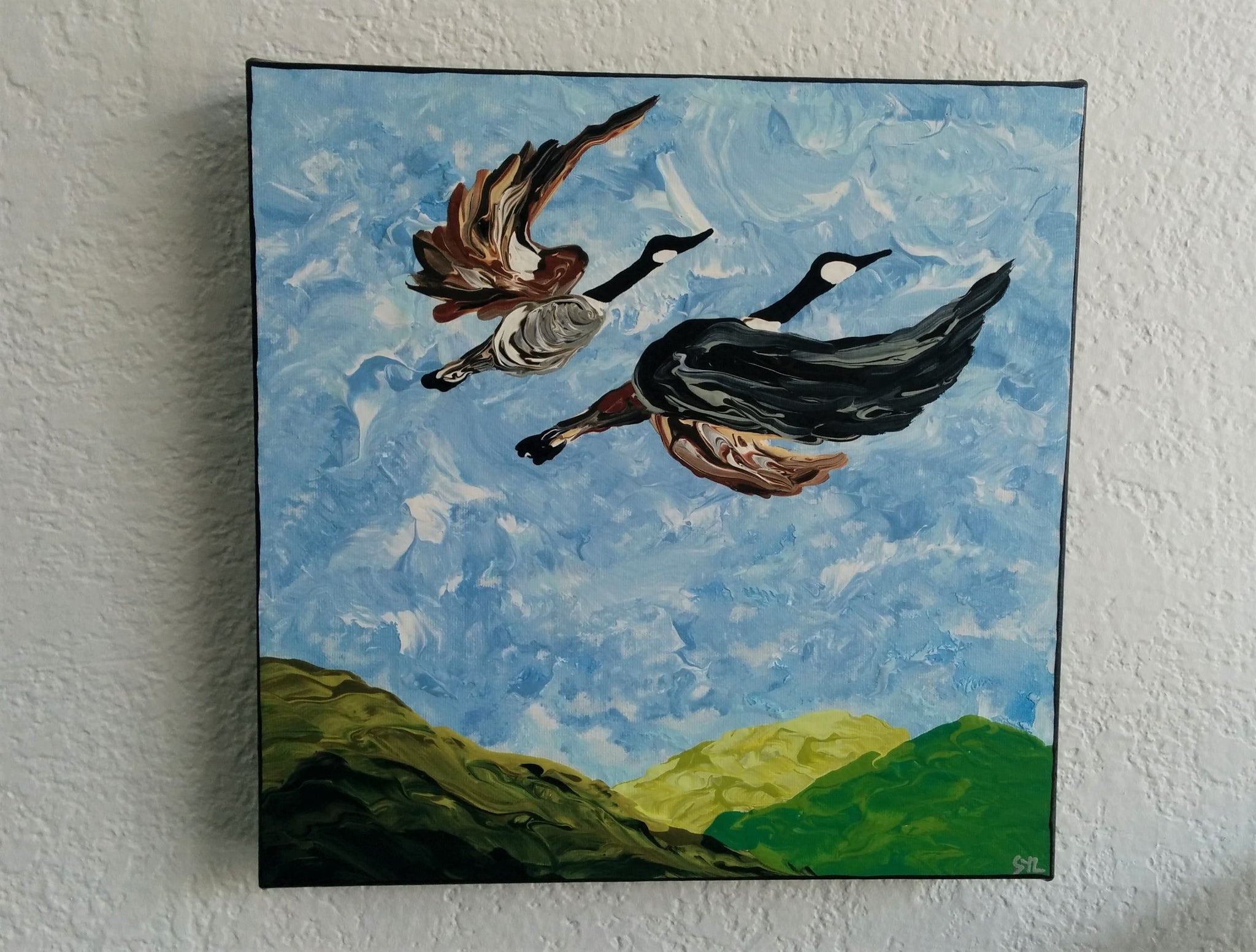 Original Acrylic Painting - FLYING GEESE