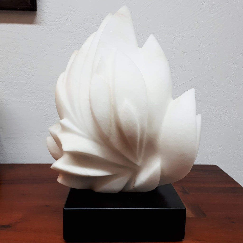 Contemporary Carving of White Alabaster by Canadian Artist Wesley Booker