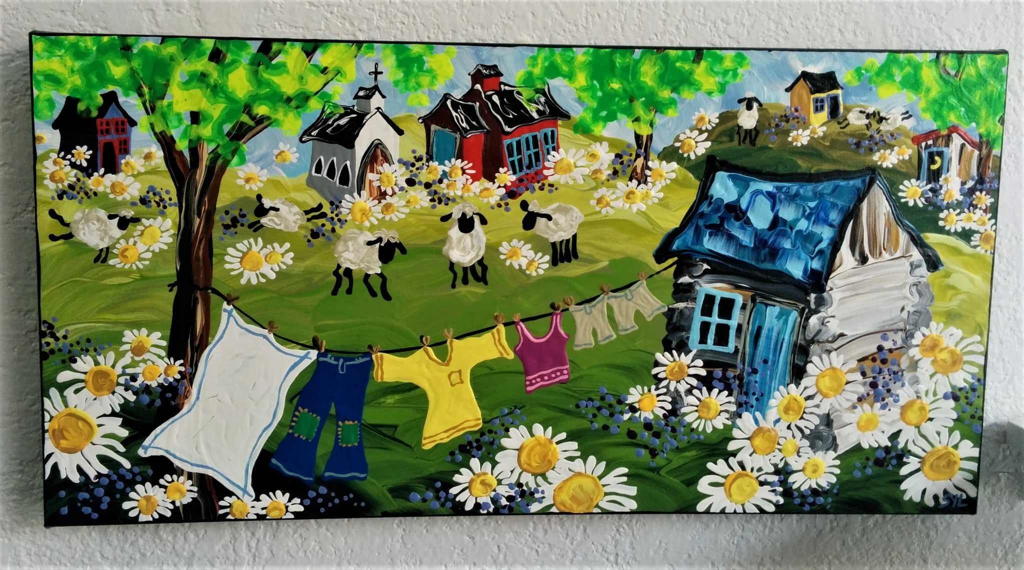 Original Acrylic Painting - Village Two