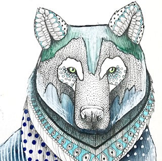 Original Ink, Pencil and Watercolour Work - Blue Wolf