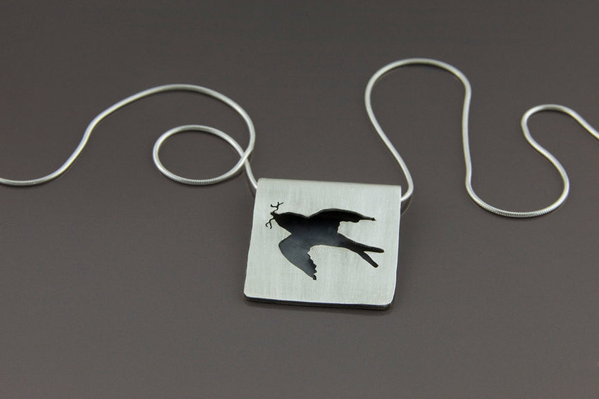 Folded Sterling Silver Barn Swallow Necklace