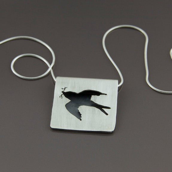Sterling Silver Hand Cut Barn Swallow Necklace