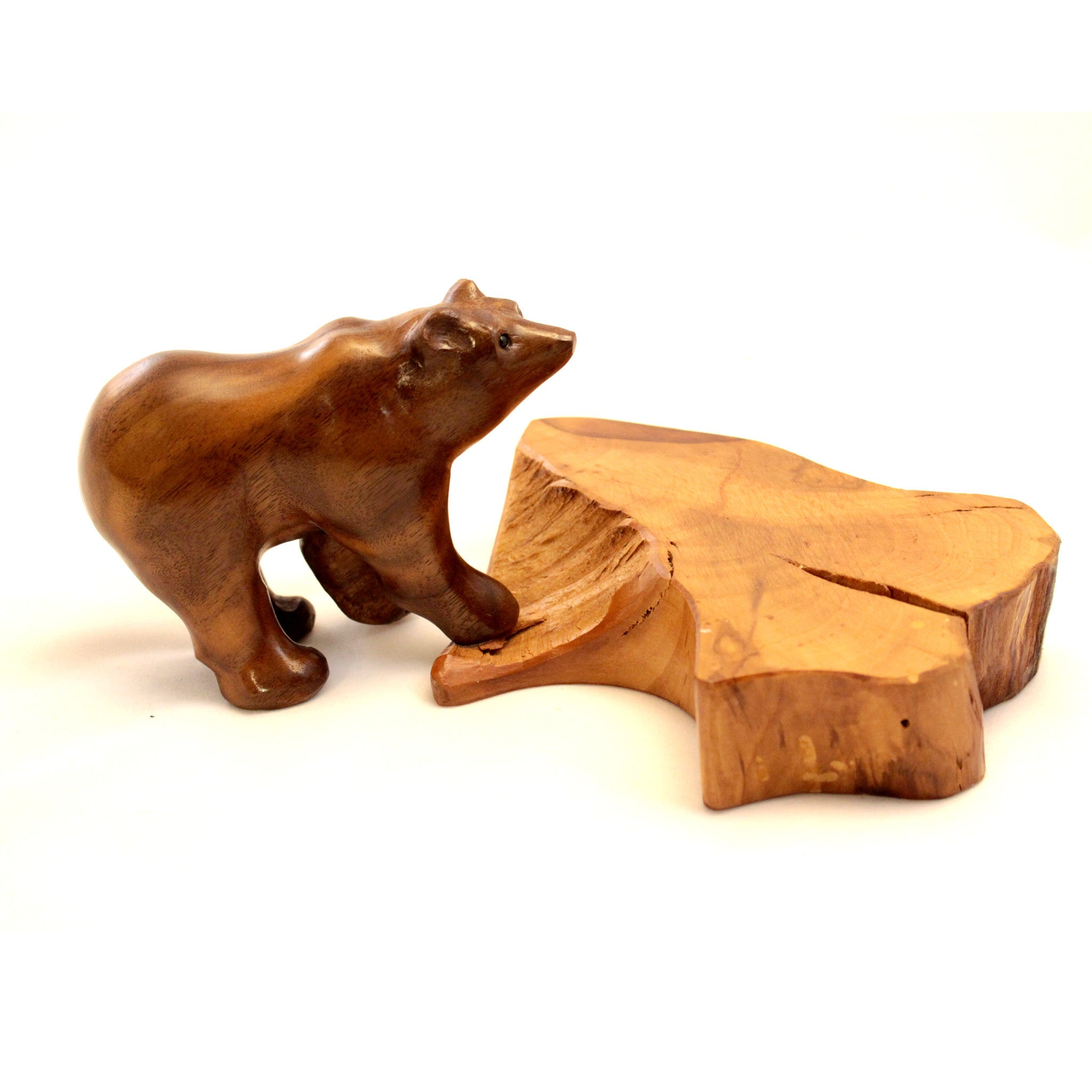 Black Walnut Hand Carved Bear on Cherry Base