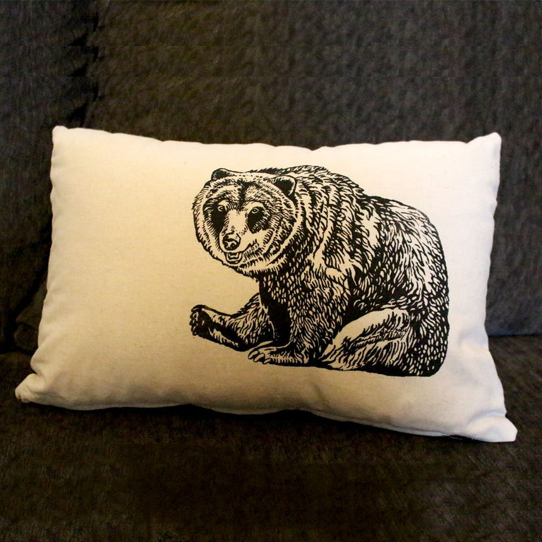 Charming Wildlife Drawing on Pillow - Grizzly Bear