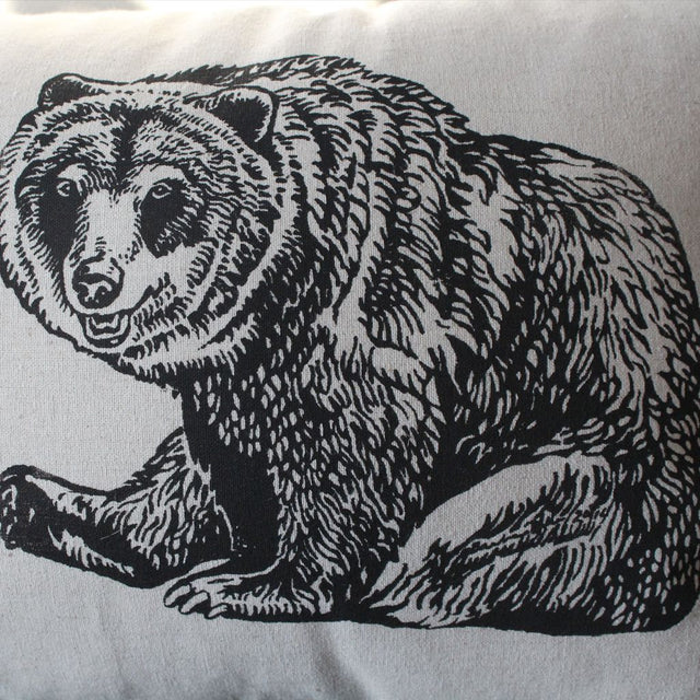 Wildlife Illustration Linen Tea Towel - Grizzly Bear
