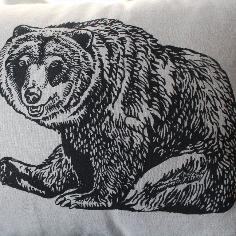 Grizzly Bear Wildlife Pillow - zoom view