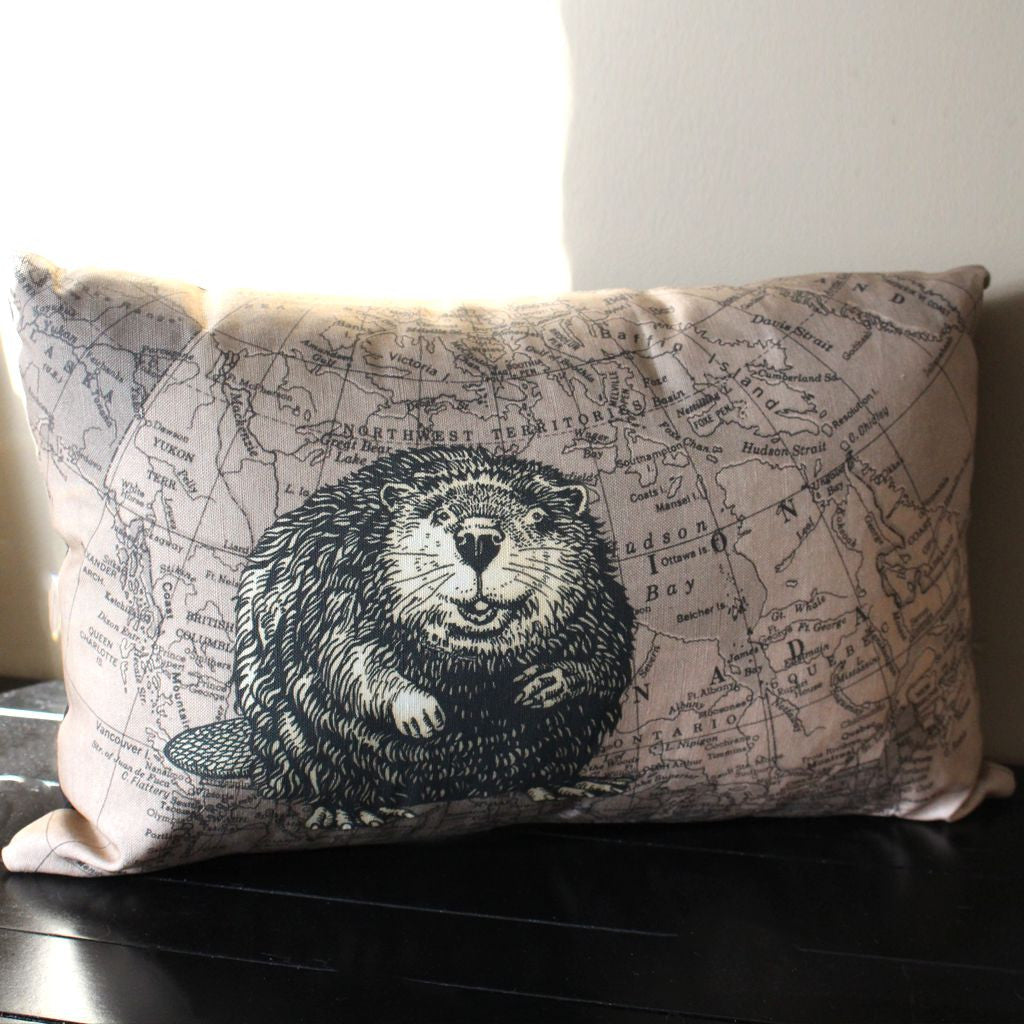 Wildlife Drawing and Map Pillow - Cheeky Beaver on 1947 Dominion of Canada Map